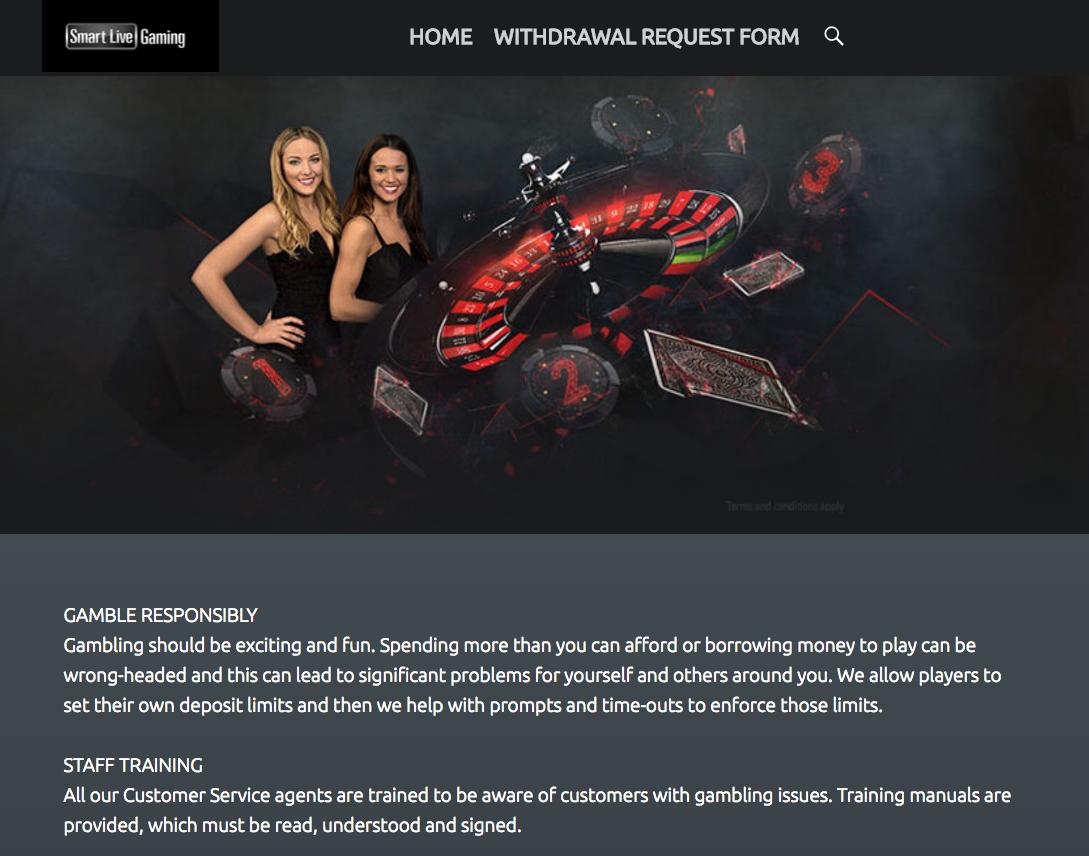 現在のスマートライブカジノのウェブサイト