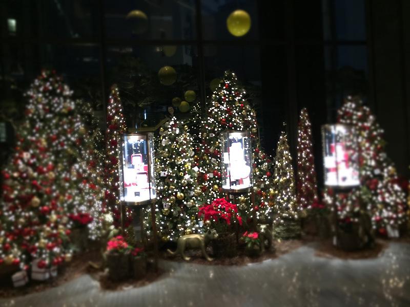 ロビーの反対側にはクリスマスツリー