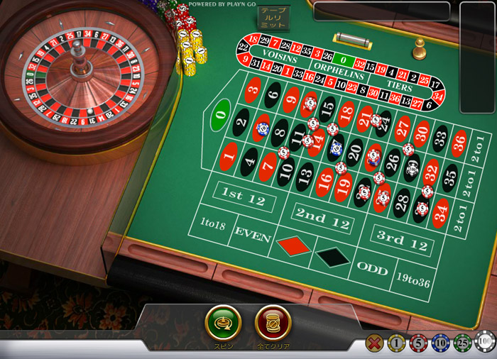 オンラインカジノのルーレット画面