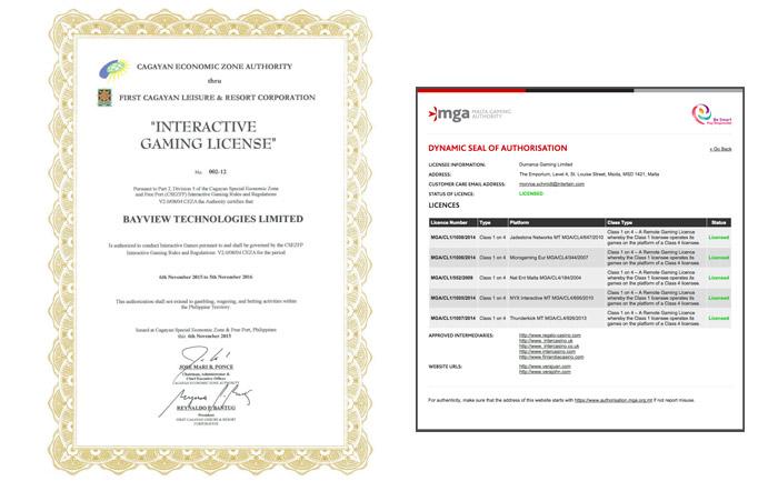政府や機関が発行するオンラインカジノのライセンス(運営許可書)