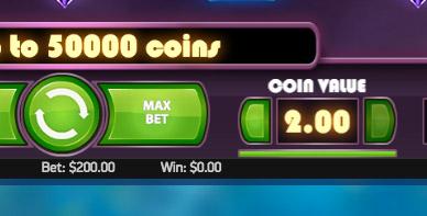 MAX BETだと、1スピンで200ドルも。